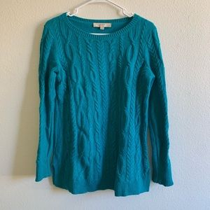 Loft teal cable knit sweater